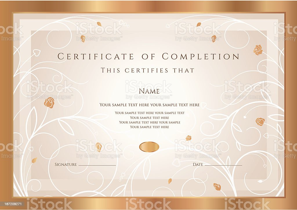 Certificate of completion / Diploma template. Award background, flower ornament, frame vector art illustration