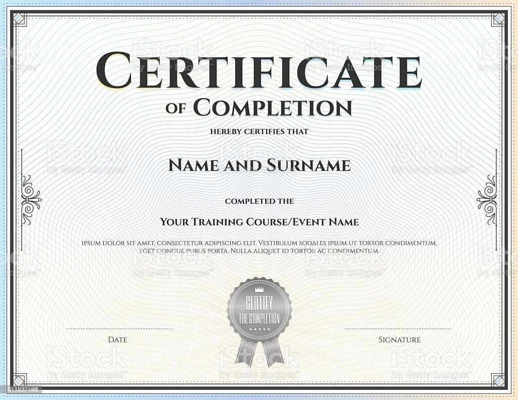 Certificate of completion template in vector vector art illustration