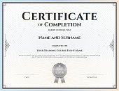 Certificate of completion template in vector