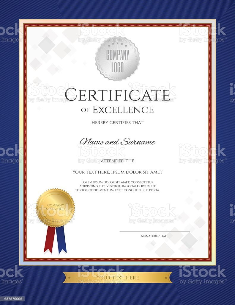 Certificate Of Excellence Template In Portrait With Blue