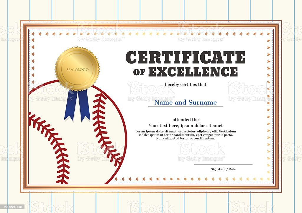 Certificate Of Excellence Template In Sport Theme For Baseball