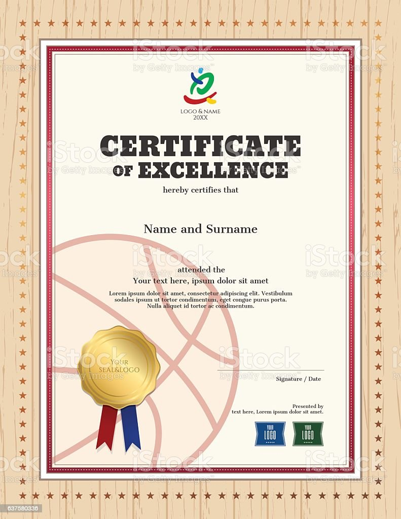 Certificate Of Excellence Template In Sport Theme For Basketball – Certificate of Excellence Template Free