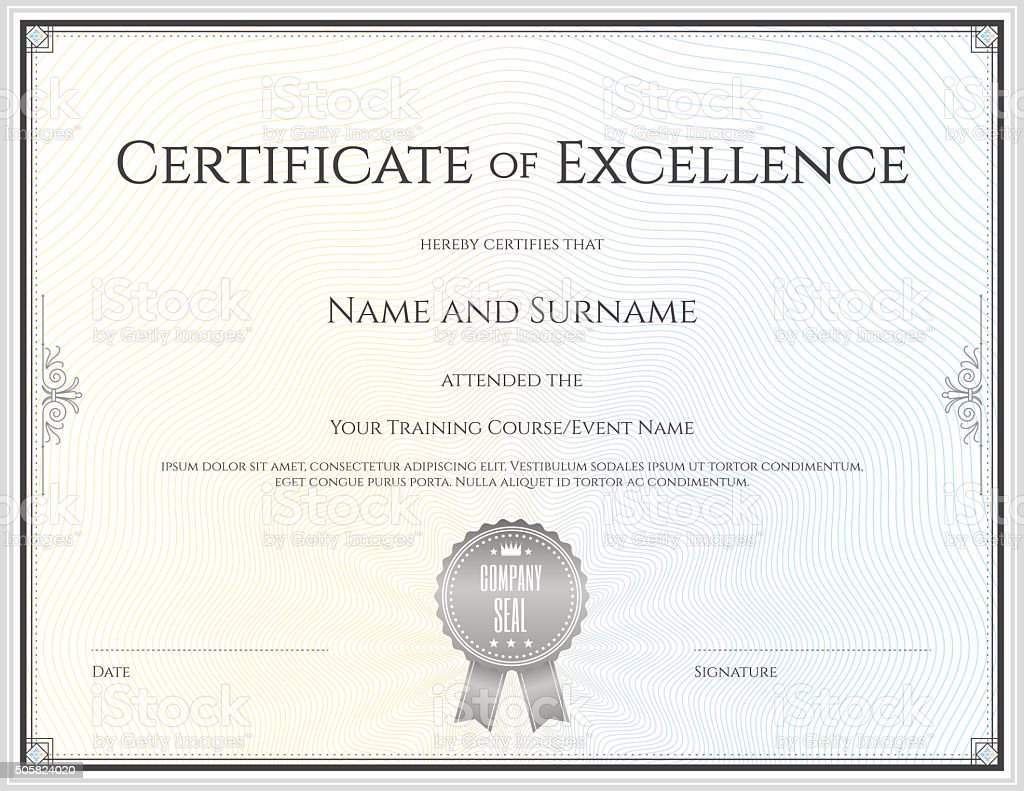 Certificate Of Excellence Template In Vector stock vector art – Certificates of Excellence Templates