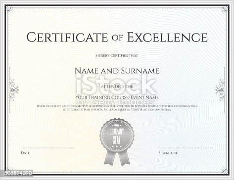 Certificate Of Excellence Template In Vector Stock Vector Art