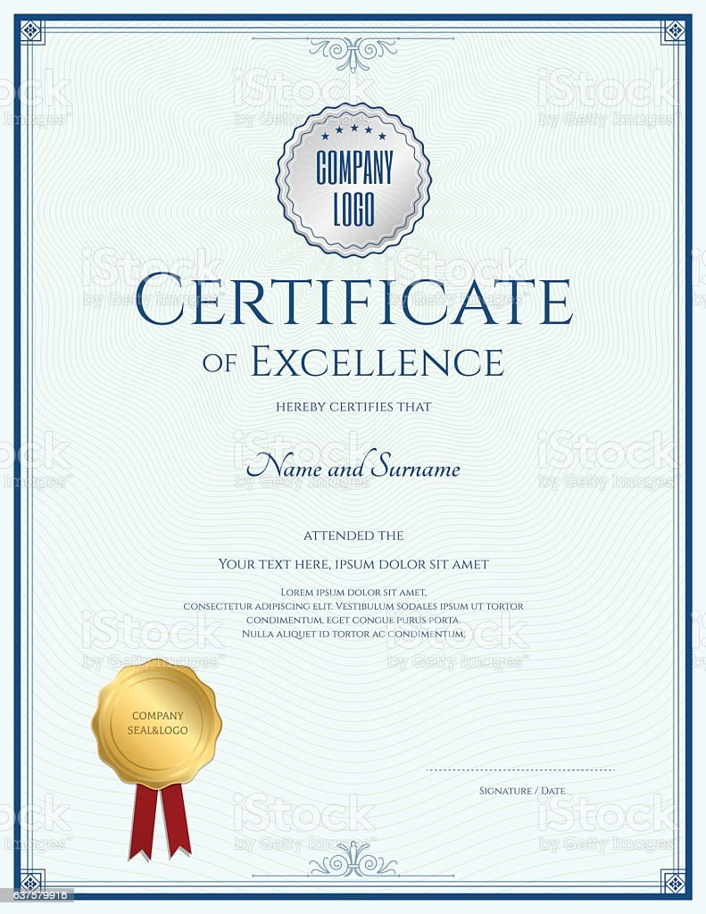 Certificate Of Excellence Template With Gold Seal And Blue Border – Certificate of Excellence Template Free