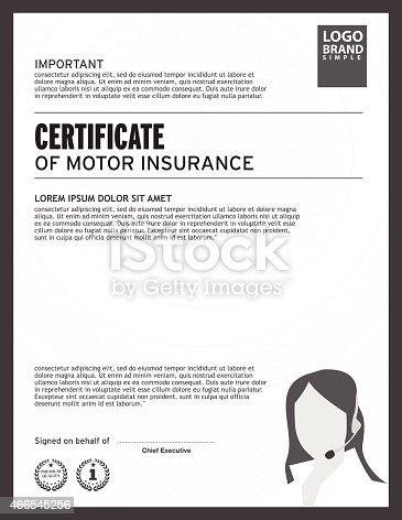 Certificate Of Motor Insurance Template Stock Vector Art 466545256