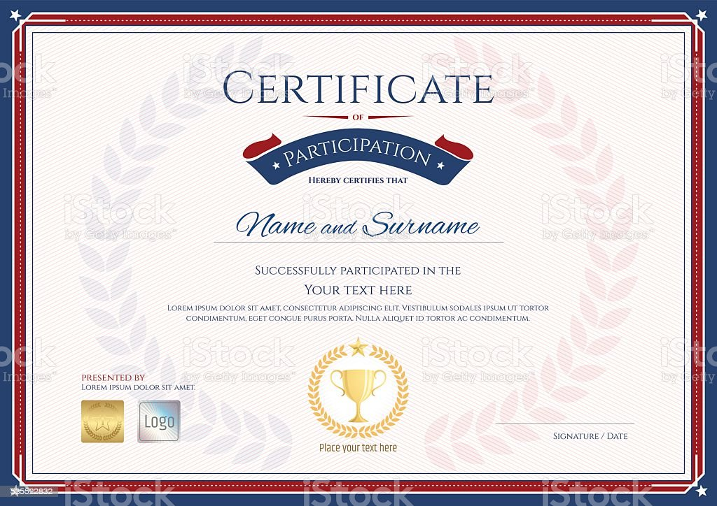Certificate Of Participation Template In Sport Theme stock vector – Free Certificate of Participation Template