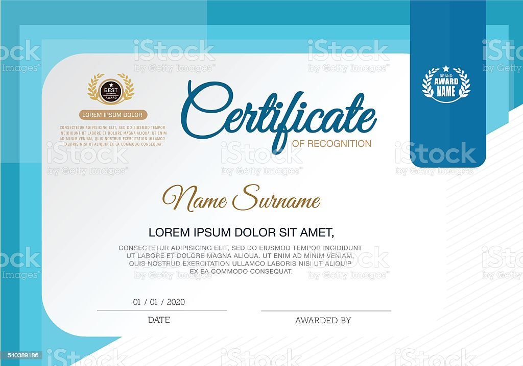 Certificate Of Recognition Frame Design Template Stock Vector Art