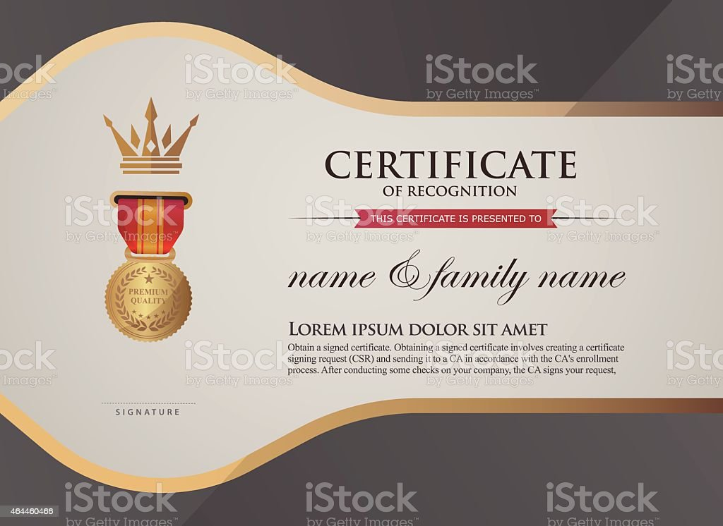 Certificate Of Recognition Template Foreign Language Stock Vector
