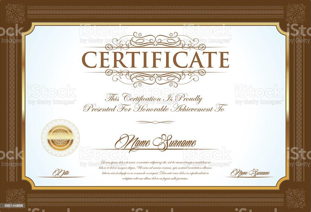 Certificate or diploma retro vintage design template vector art illustration