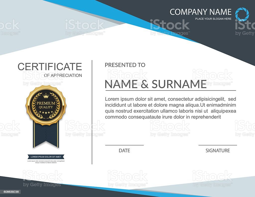 certificate template certificate of appreciation vector stock 1 credit