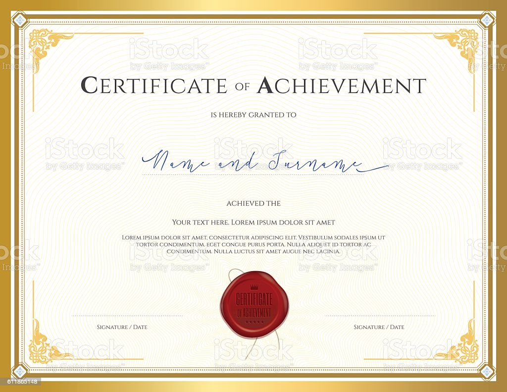 Certificate Template For Achievement With Gold Border stock vector art 611865148  iStock
