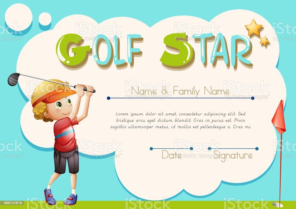 certificate template for golf star stock vector art 655741618 istock
