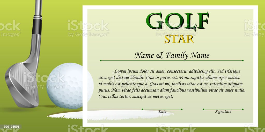 certificate template for golf star with green background stock