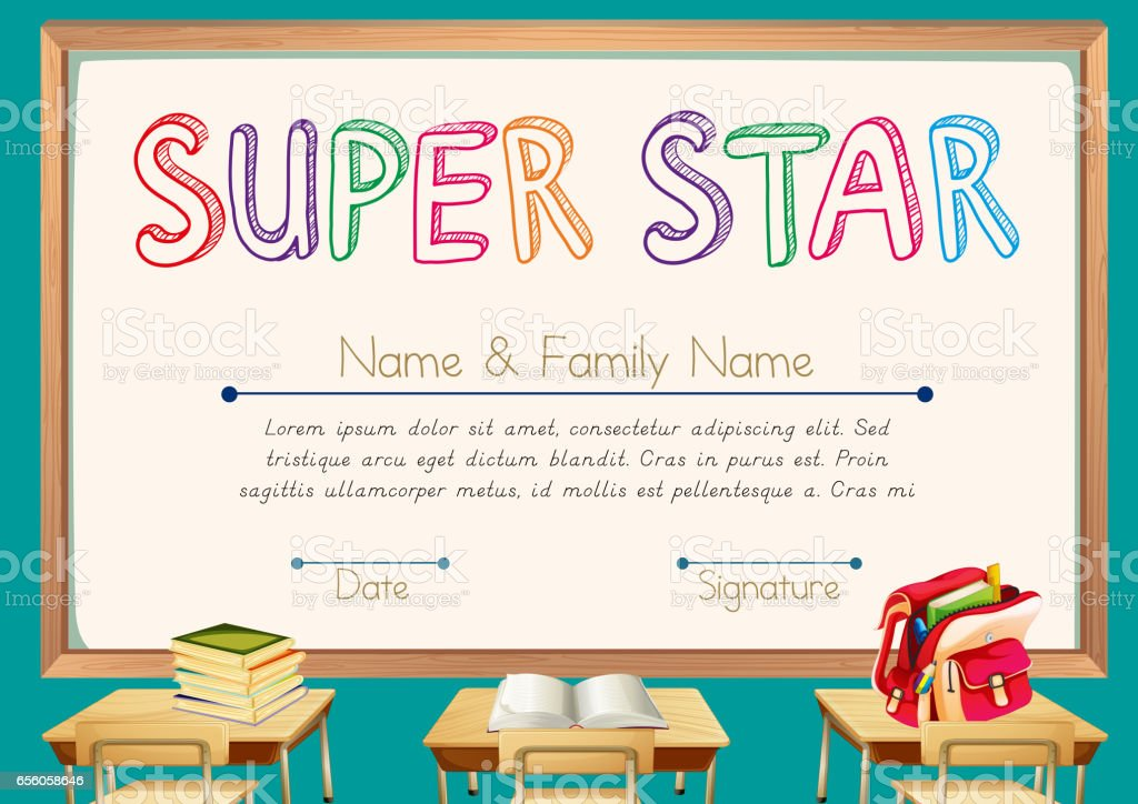 Certificate template for super star with classroom background...