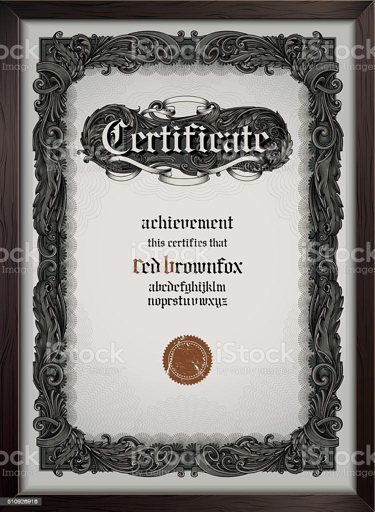 Certificate template with gothic font vector art illustration