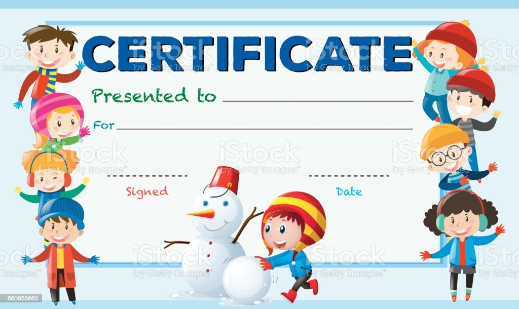 Certificate Template With Children In Winter Free Vector T