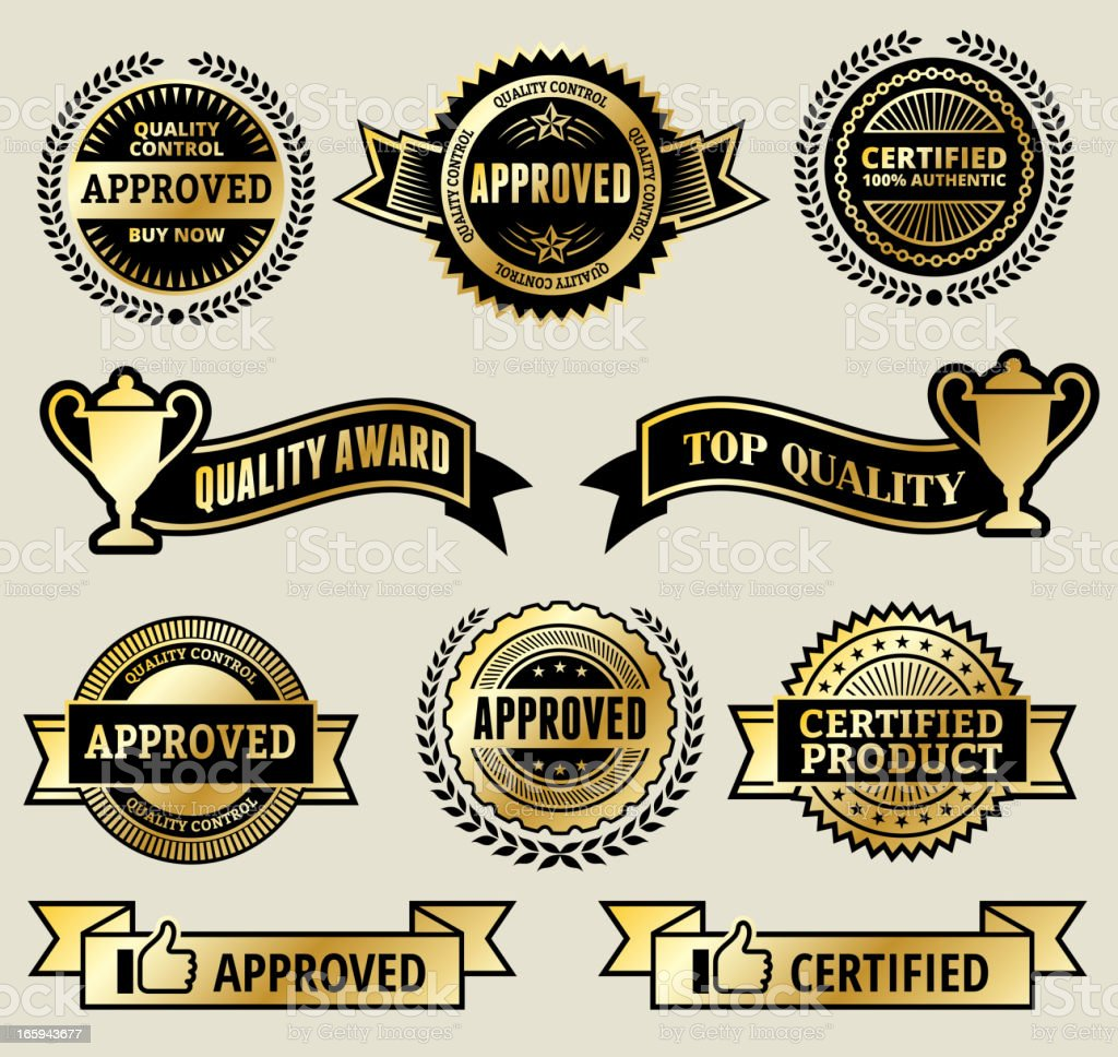 Certified and Top Quality Award Gold vector icon set royalty-free stock vector art