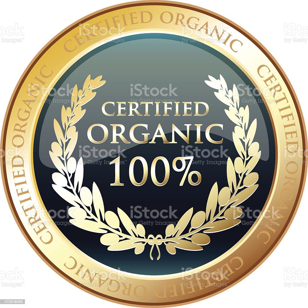 Certified Organic Gold Award vector art illustration