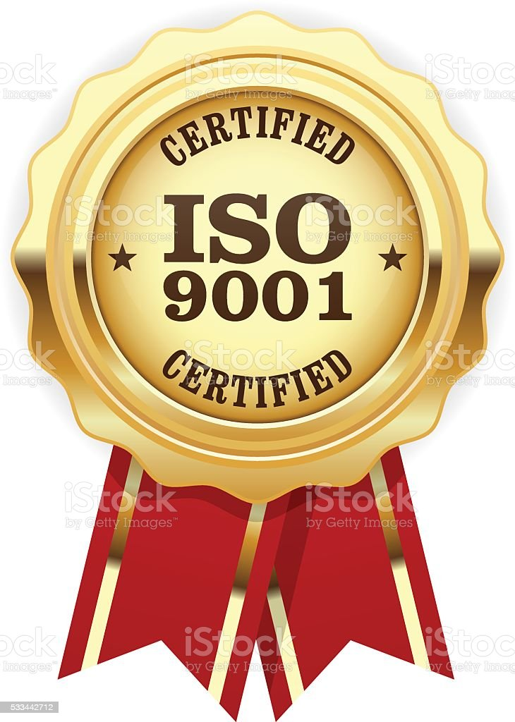 ISO 9001 certified - quality standard golden seal vector art illustration
