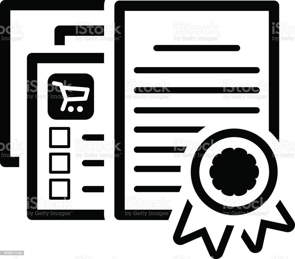Certified Shop Icon. Flat Design vector art illustration