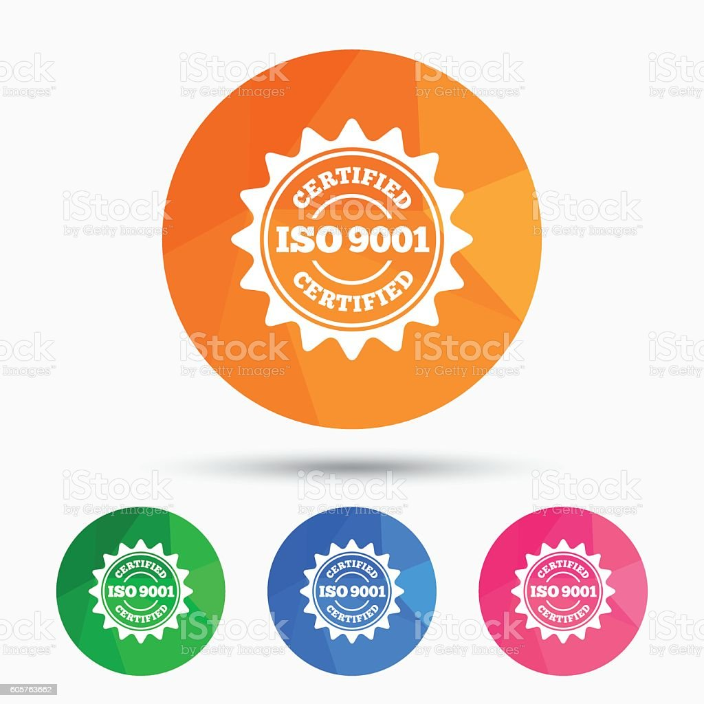 ISO 9001 certified sign. Certification stamp. vector art illustration