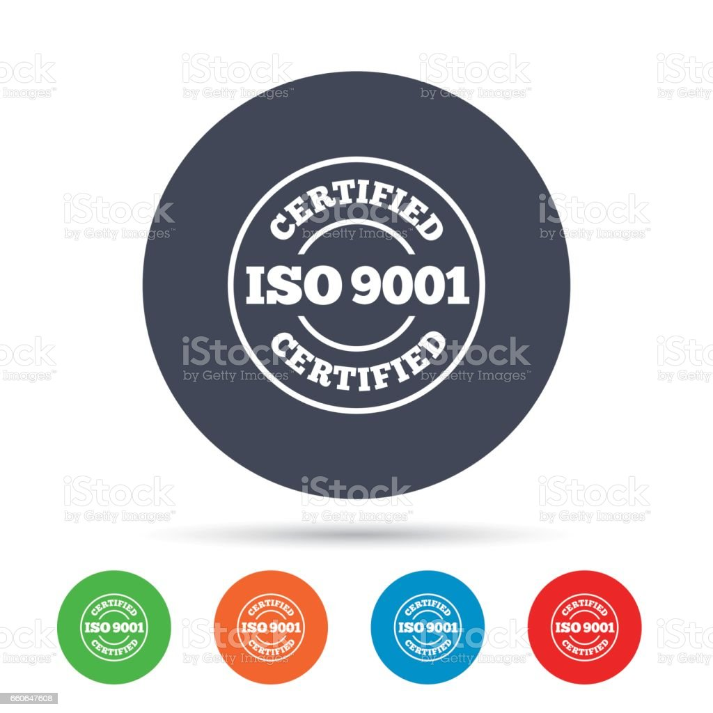 ISO 9001 Certified Sign Certification Stamp Royalty Free Stock Vector Art