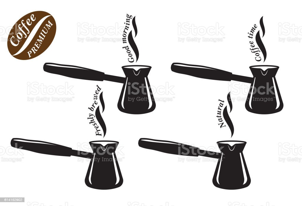 Cezve. Natural coffe. Freshly brewed coffee. Set of black icons vector art illustration