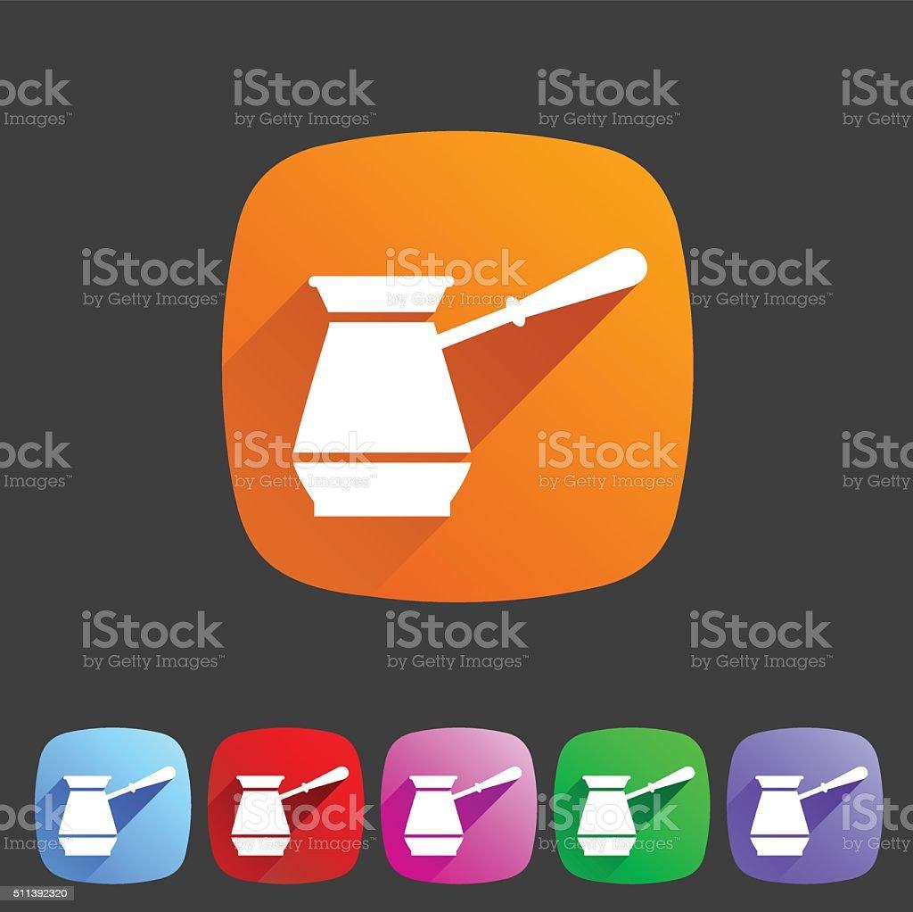 Cezve turkish coffee pot  icon flat web sign symbol logo vector art illustration