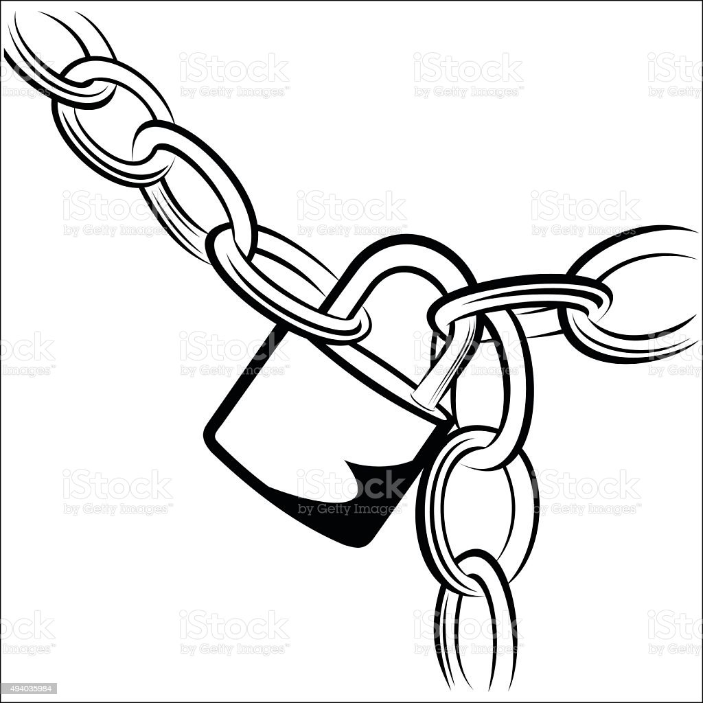 Chain and Padlock royalty-free stock vector art