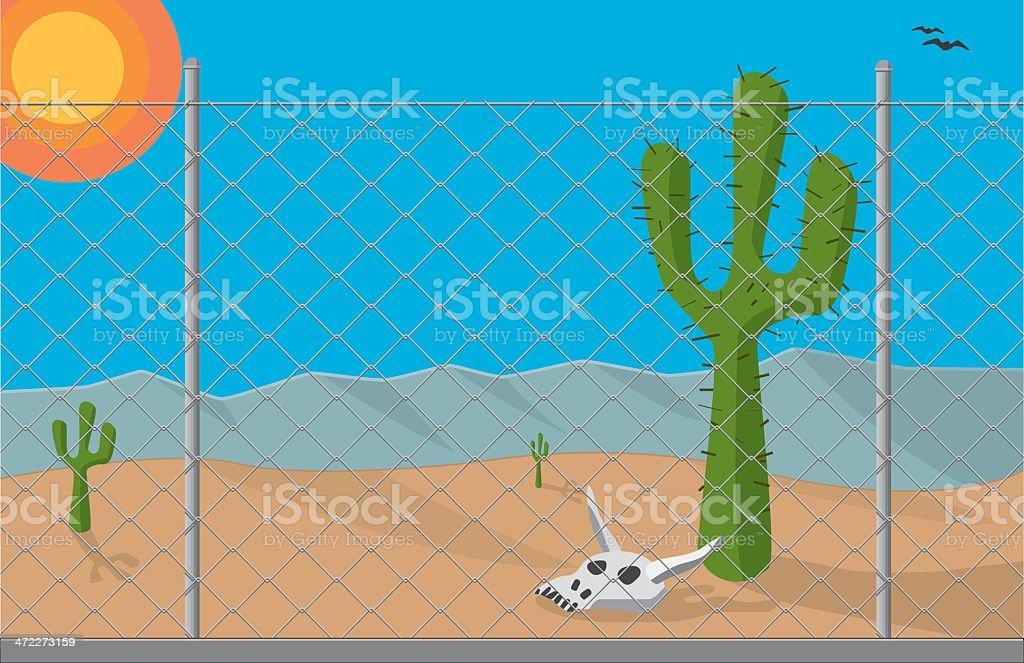Chain Link Fence vector art illustration