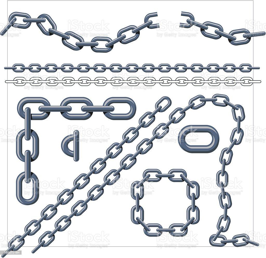 Chain Link Grey vector art illustration
