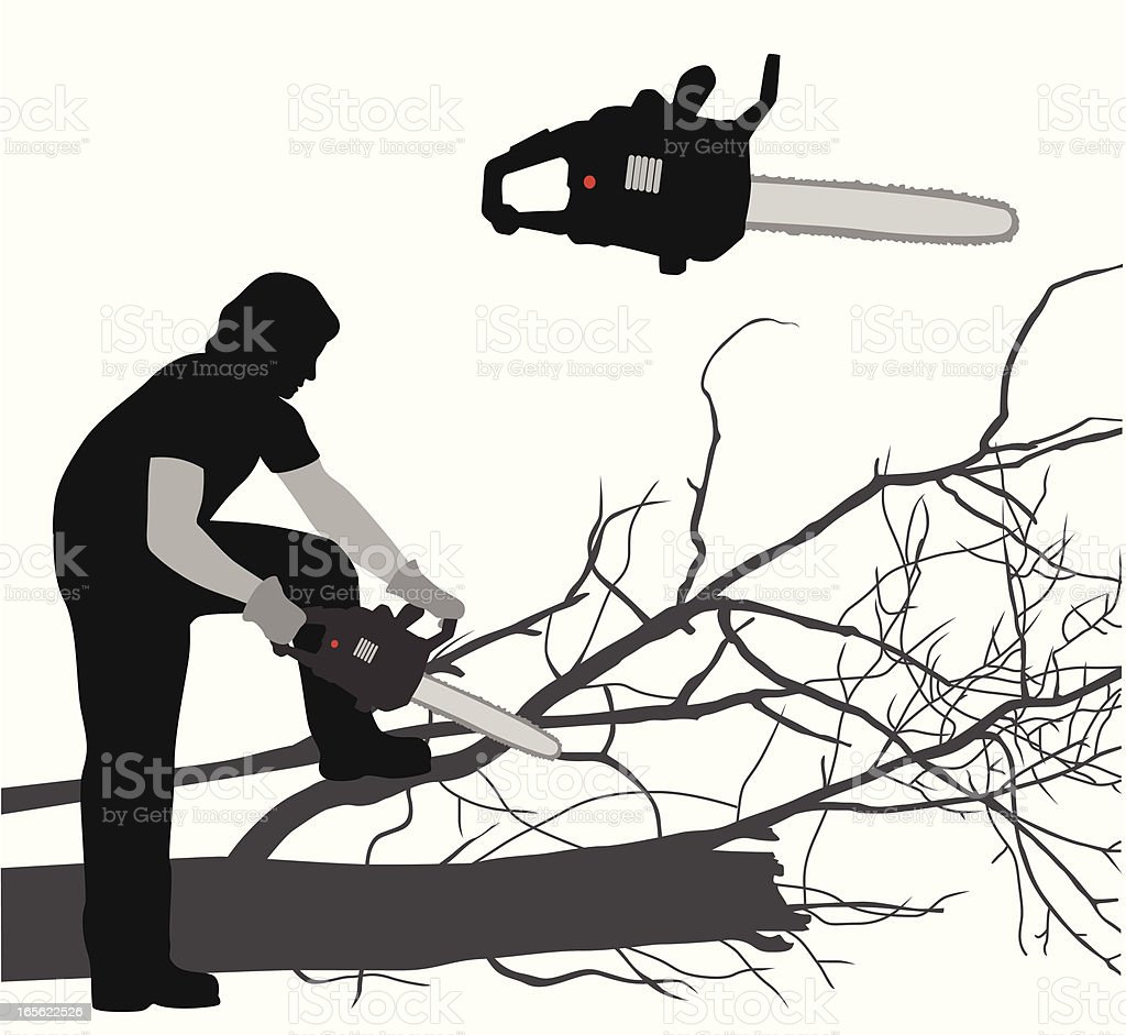 Chain Sawing Vector Silhouette royalty-free stock vector art