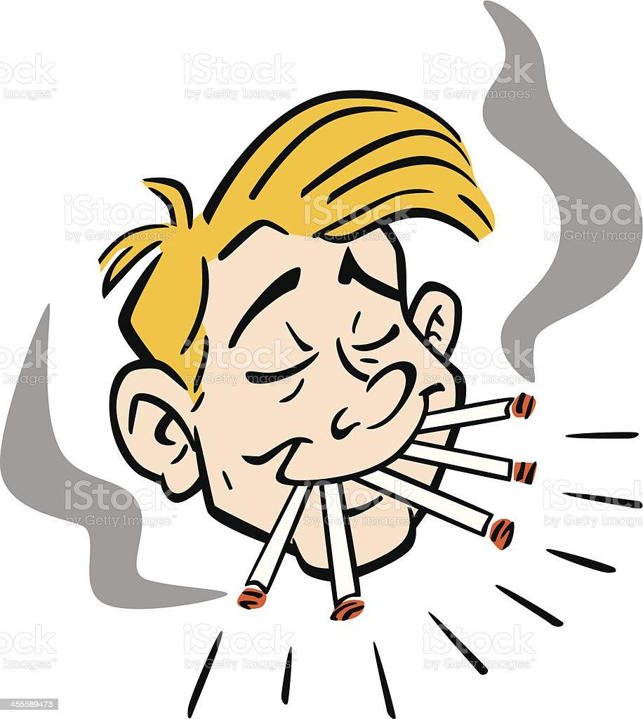 Chain Smoker vector art illustration
