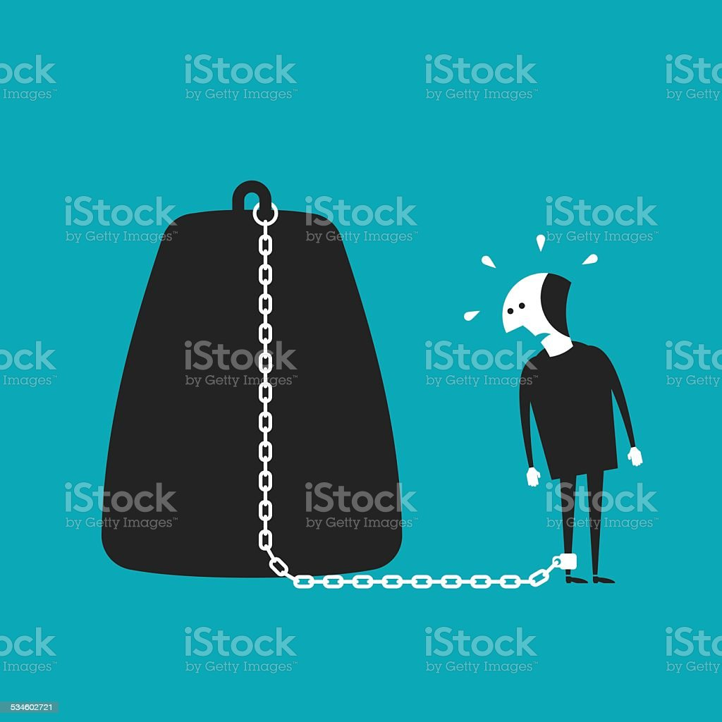 Chained businessman vector concept in flat cartoon style vector art illustration