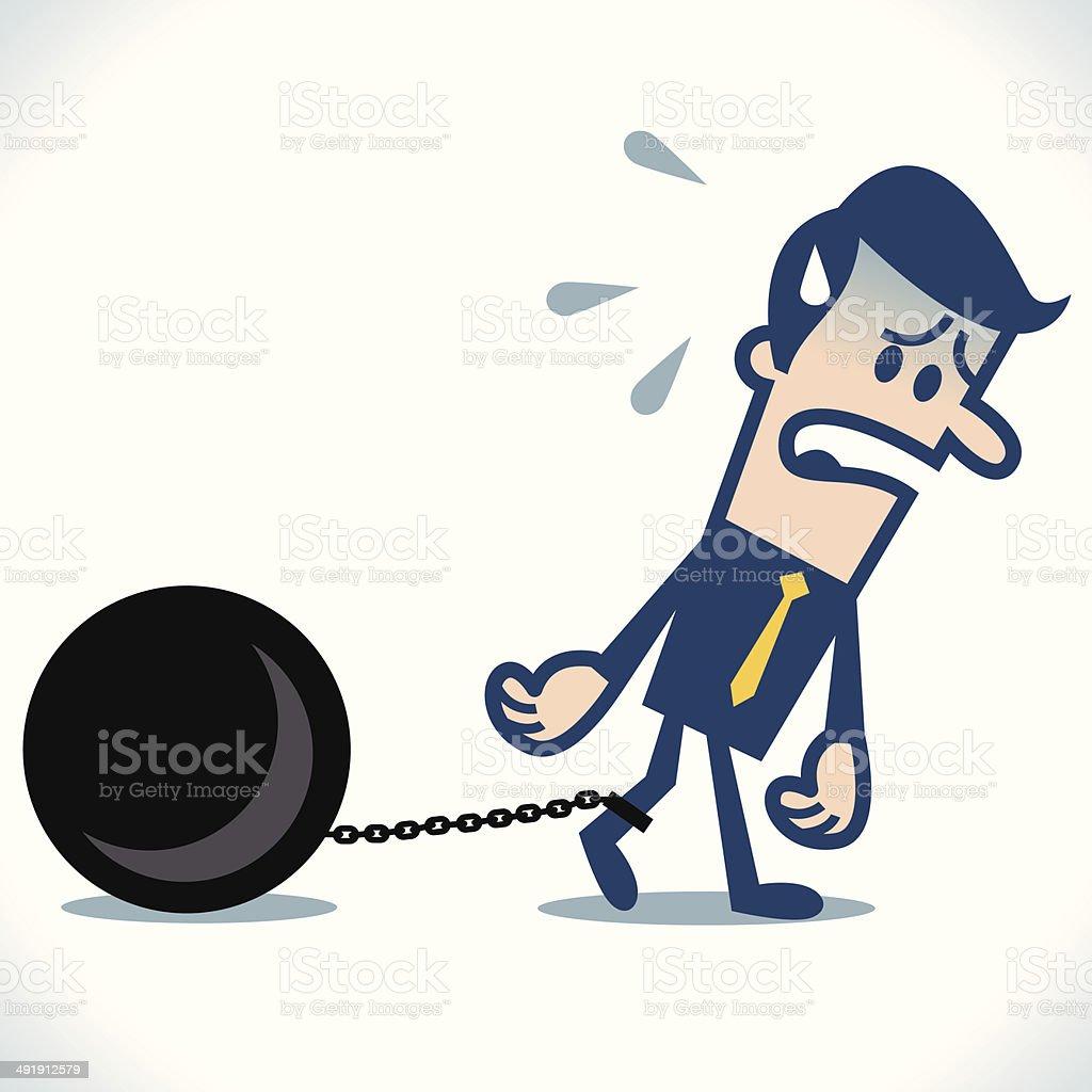 Chained businessman vector art illustration