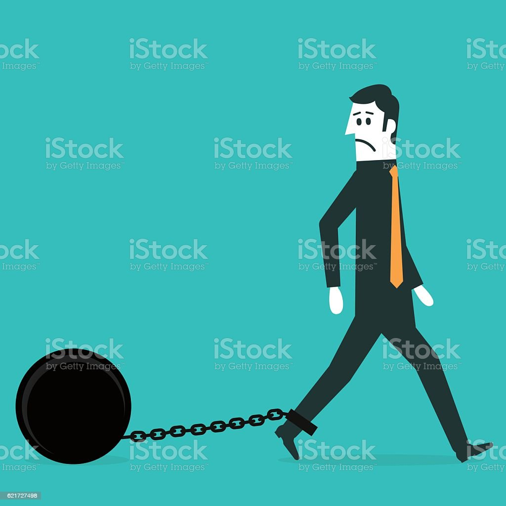 Chained businessman vector art illustration