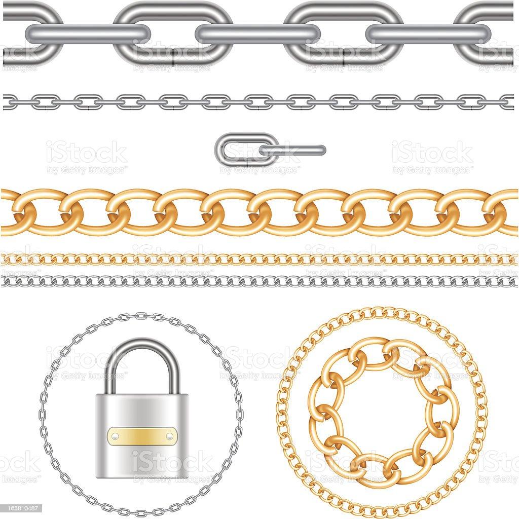 Chains and padlock vector art illustration