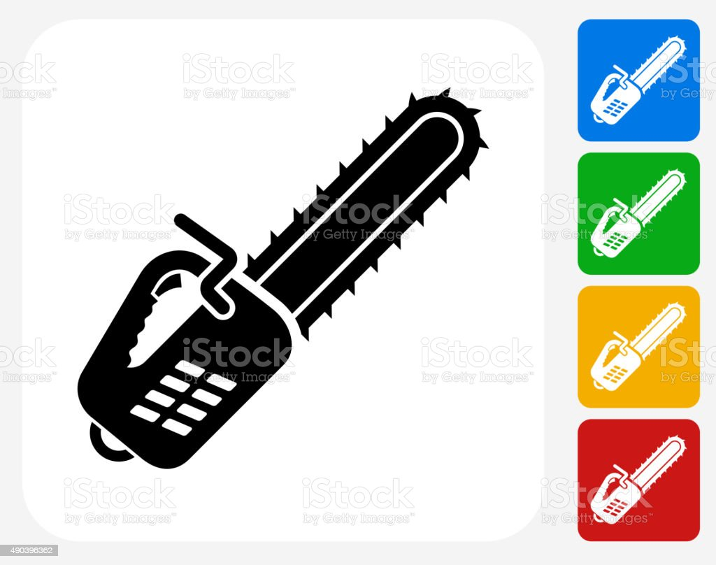 Chainsaw Icon Flat Graphic Design vector art illustration
