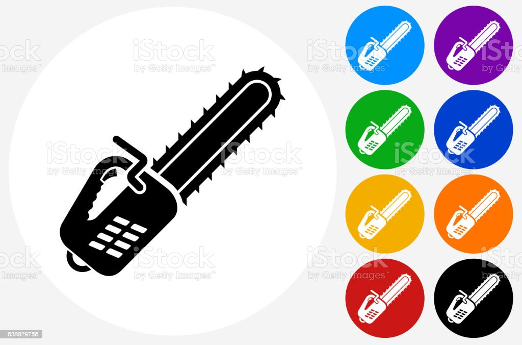 Chainsaw Icon on Flat Color Circle Buttons vector art illustration