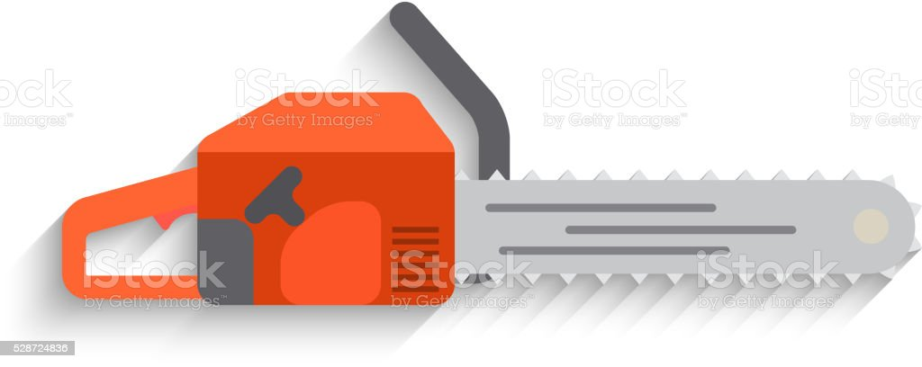 Chainsaw Icon on white background. Flat design Vector vector art illustration