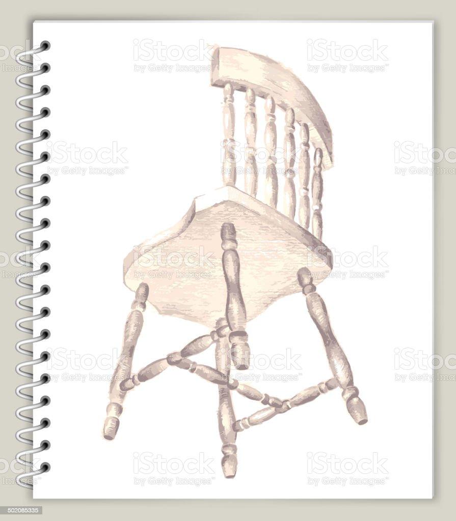 Chair Drawing on Art Sketcbook royalty free vector art royalty-free stock vector art
