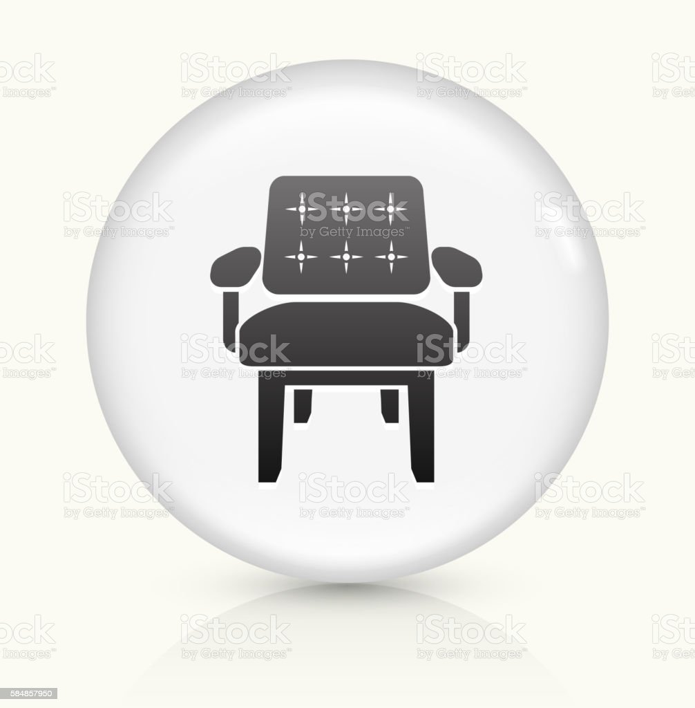 Chair icon on white round vector button vector art illustration