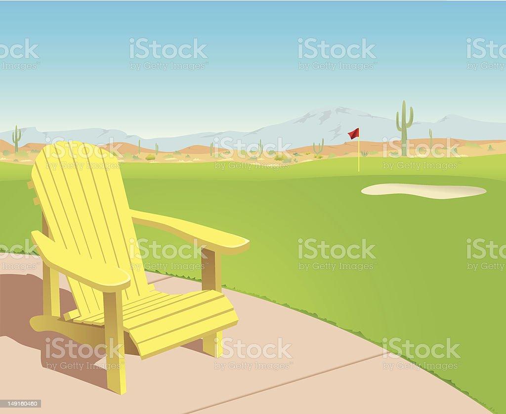 Chair on Desert Golf Course vector art illustration
