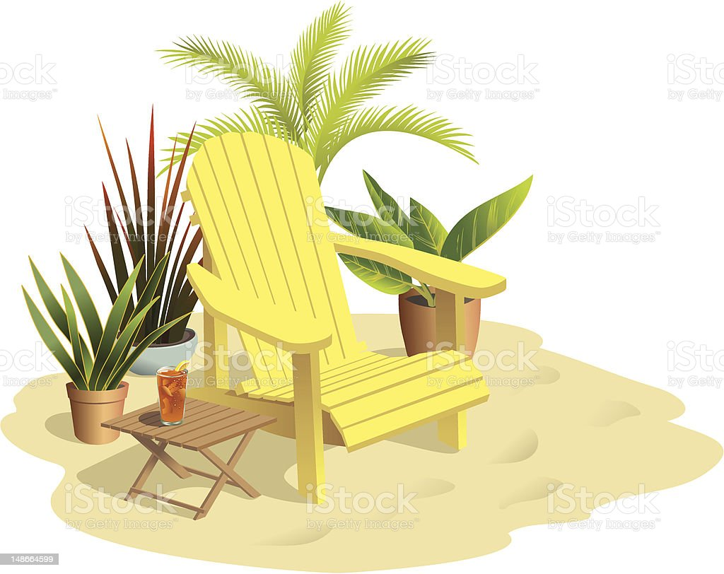 Chair on Sand in Sunlight with Plants vector art illustration