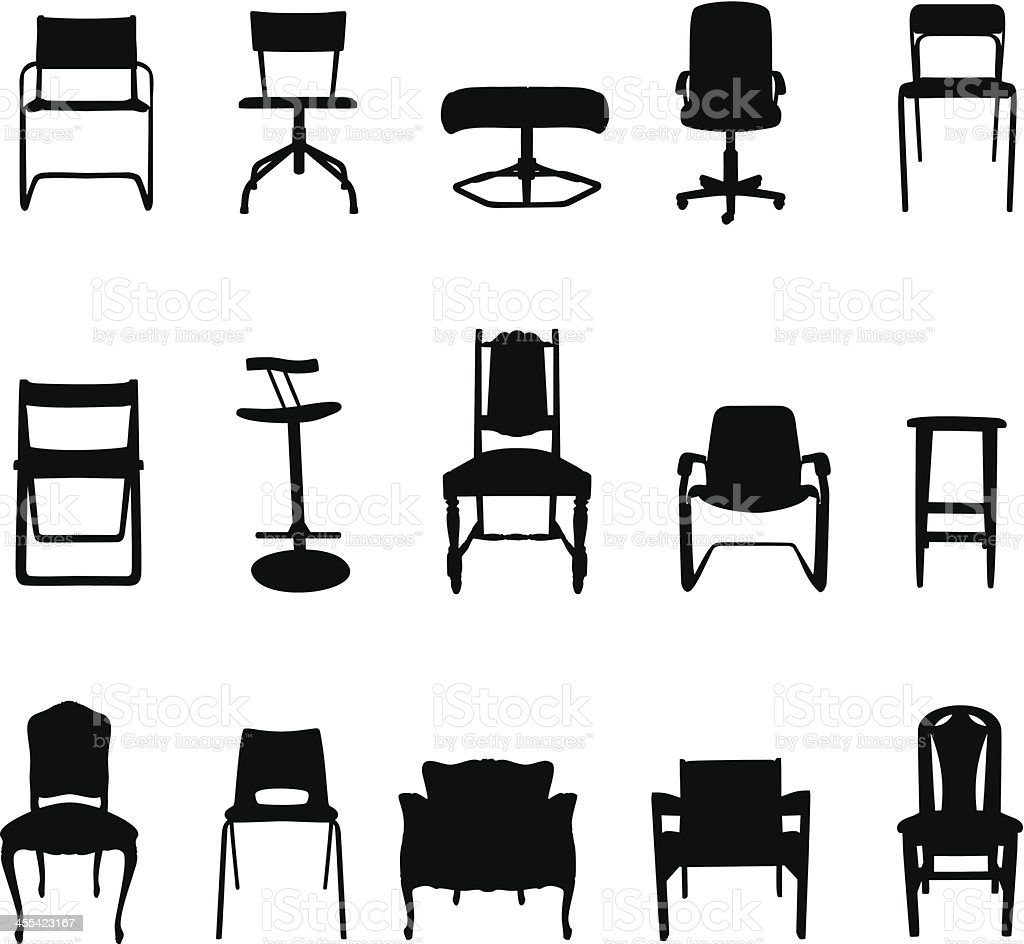 Chair Silhouettes vector art illustration