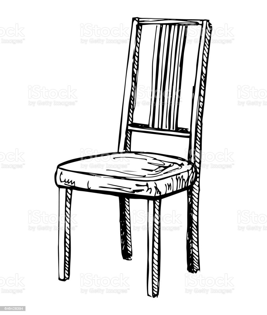 Black and white chair drawing - Chair Sketch Isolated On White Background Vector Illustration Royalty Free Stock Vector Art