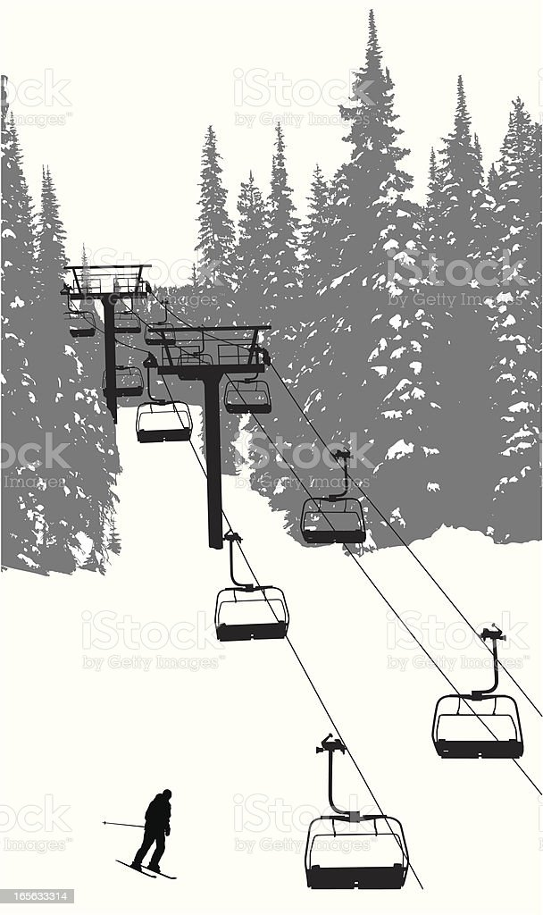 Chairlift  Vector Silhouette vector art illustration