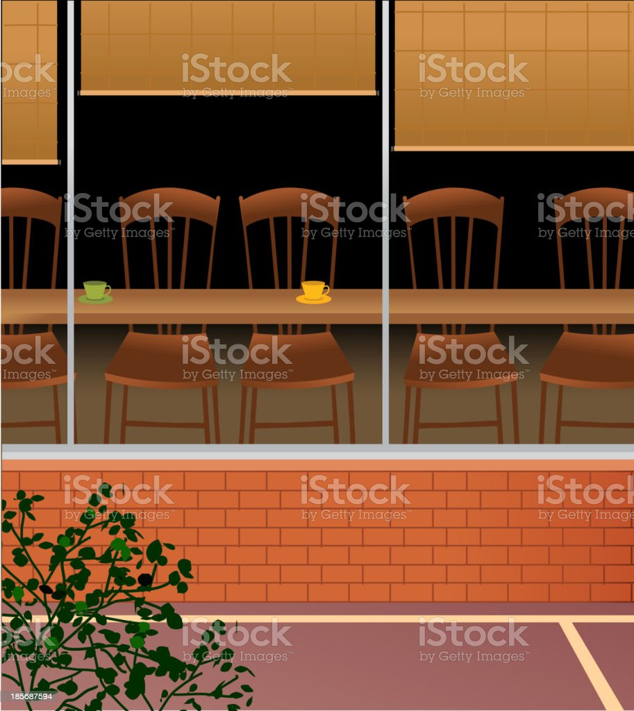 Chairs arranged in cafe royalty-free stock vector art