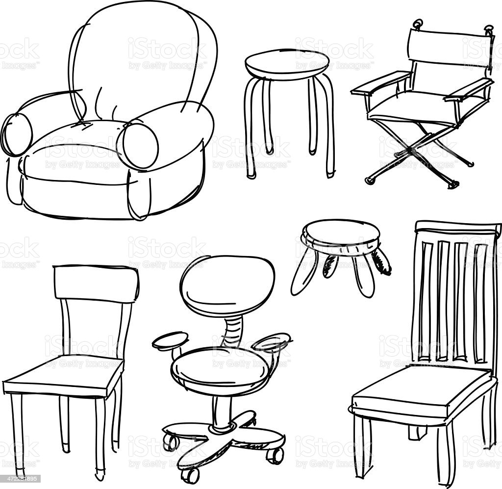 Chairs collection in black and white vector art illustration